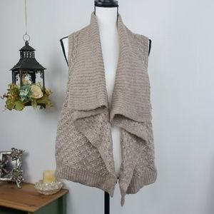 LOFT Sweater Cardigan Thick Knit Waterfall Front